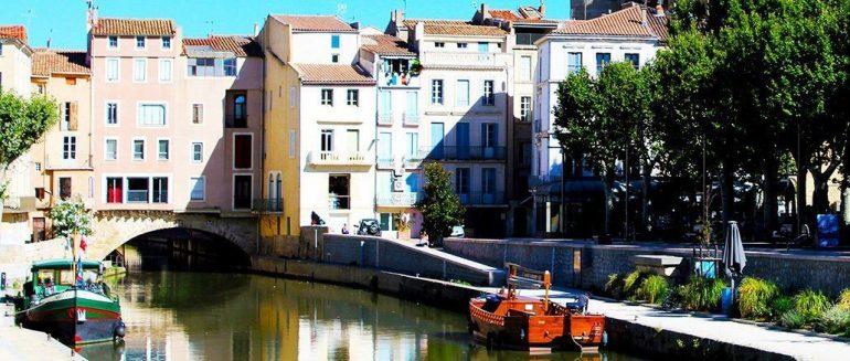 Pont des Marchands y canal de la Robine, en Narbona